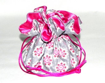 Drawstring Jewelry Bag Pouch - Grey and pink floral travel bag- Silver sequins
