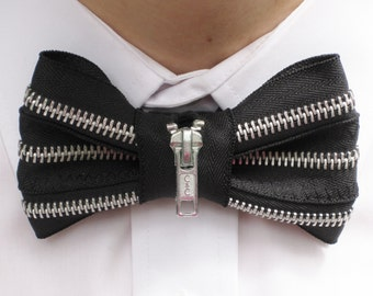 Black Bow Tie with Silver Zipper