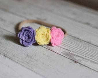 Wool Felt Rose Mini-Crown Headband - Nylon Headband - One Size Fits All - Lilac, Buttercup, Pink