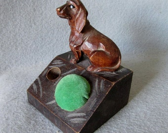 Antique Black Forest German Hand Carved Pincushion with Dachshund Dog