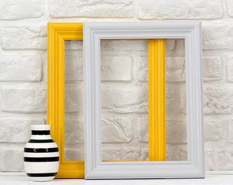 A4 frames- set of 2 -mustard and grey- Scandinavian style - made to order