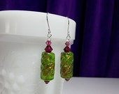 25% Off SALE thru Sun Green and Fuchsia Pink Lampwork and Crystal Drop Silver Earrings, LIMITED, Christmas Mom Sister Aunt Jewelry Gift, Coc