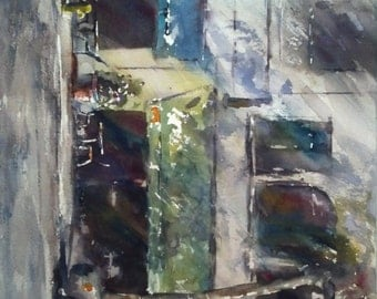 "Storefront, street scene, architecture Old Pasadena, Colorado Blvd I. - Original Watercolor Painting 12"" x 16""."