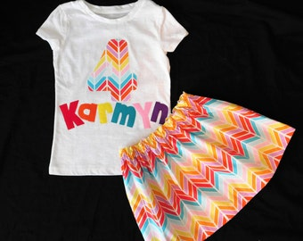 2 piece Rainbow girl, toddler baby, tween skirt aztec chevron skirt, personalized shirt with birthday number or inital applique name  NB- 16