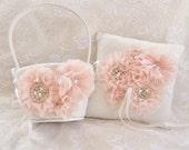 SALE Flower Girl Basket Set, Ring Bearer Pillow, Blush Flower Girl Basket Set Wedding Pillow Elegant and Classic