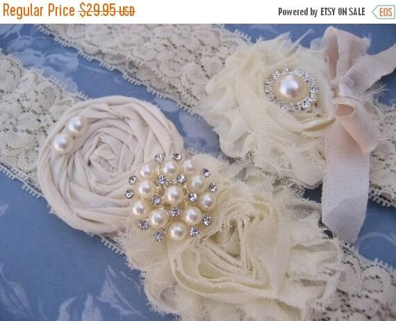 FALL SALE Vintage Bridal Garter Wedding Garter Set Toss Garter included  Ivory with Rhinestones and Pearls  Custom Wedding colors