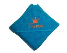 personalised embroidered hooded towel, bath towel,baby towel, crown ,baby crown embroidered, name embroidery, birth gift, babyshower