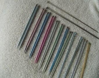 """Destash Bates and No Name Brand Knitting Needles #6, 10"""" Aluminum Ktng. Needles, 1 Pair Steel Knitting Needles, Nice Starter Collection"""