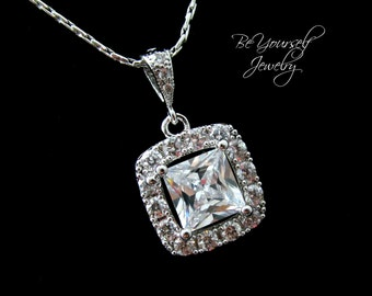 White Crystal Bridal Necklace Square Cut Cubic Zirconia Bride Pendant Wedding Jewelry Cushion Cut Wedding Necklace Bridesmaid Gift Jewelry
