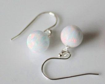 Fire opal drop earrings- 6mm Opal ball earrings- Multiple colors - Opal earrings- Bridesmaids earrings- October birthstone- Birthday gift