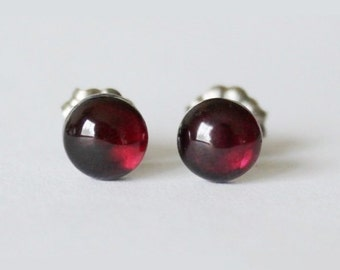 Wine red natural garnet Titanium studs, 6mm Natural Garnet Earrings, hypoallergenic, Garnet studs, Titanium earrings, Dark red earrings
