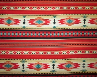Native American Traditional Navajo Red Teal Border Cotton Fabric Fat Quarter or Custom Listing
