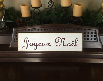 Joyeux Noel Merry Christmas in French Country Chic Sign Plaque Holidays Paris Apartment Hand Painted Rustic You Pick Color Wooden