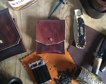 Lighter Case- Brown Leather with Brass Stud - Ready to ship! Made in USA