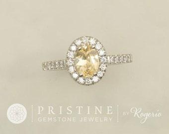SOLD Champagne Yellow Sapphire Diamond Halo Engagement Ring Wedding Ring Anniversary Ring
