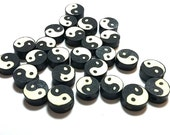 20 Fimo Polymer Clay Coin Round Beads Black White Ying Yang 10mm