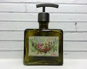 Glass Soap Dispenser Bottle   Country Bathroom Decor   Hand Soap Dispenser Pump   French Country Cottage Decor   Bathroom Accessories