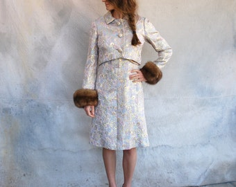 Vintage 1960's Iconic Jackie O cocktail dress with matching jacket- pale iridescent brocade suit set with mink cuffed jacket - M
