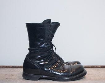 11 D | Double H / HH Paratrooper Jump Boots Cap Toe Combat Boots Black Leather