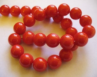 Glass  Beads Bright Red Round 10MM