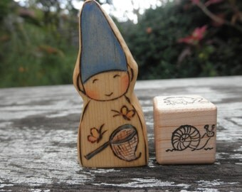 Wood Toy Junior Gnome-Story Dice- Pretend Play-Pocket Toy-Table Decor-Waldorf Inspired