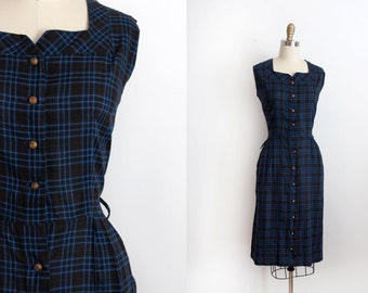 vintage 1950s dress // 50s plaid wiggle dress