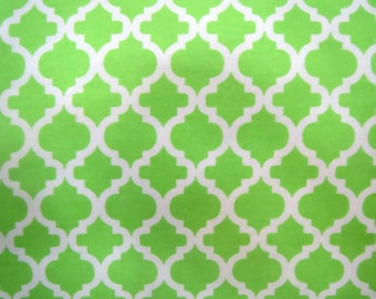 Flannel Fabric by the Yard in a Lime Green and White Trellis Print 1 Yard