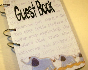 Guest Book, Sign in Book, Baby Shower, Mom Advice Book, Baby Boy Elephants, First Birthday Elephants Blue
