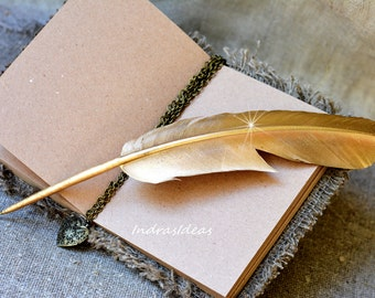 Gold Feather pen, Gold Ball Point Pen With Feather, Wedding feather pen, Gold feather glittering, Gold wedding pen, Feather pen, gold