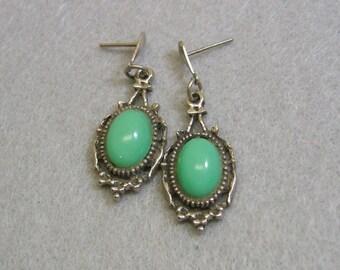 Victorian Look Green Lucite Pierced Earrings, Dangle