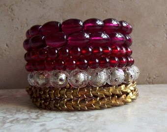 Cranberry Wrap Bracelet:  Sangria Burgundy Wine Beaded Stacked Wide Cuff Valentine Day Red and Gold Arm Candy, Holiday Jewelry, Gift for her