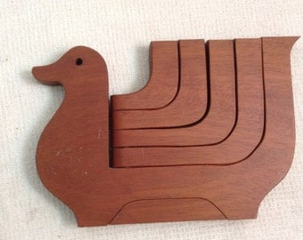 FOLDING Teak Wood BIRD 5 Candle holder. 1960's Vintage Modernist. Mod, Mid century, Danish Modern, Eames era.