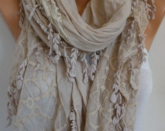 Beige Cotton Lace Scarf,Wedding Shawl Scarf,Fall Cowl Scarf, Oversize,Christmas Gift,Women's Fashion Accessories