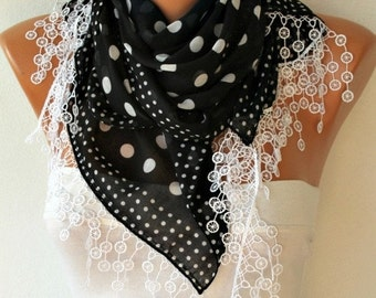 Black Scarf White Polka Dot Fall Fashion Women Shawl Scarf  Cowl Scarf Gift Ideas For Her Women Fashion Accessories Christmas Gift