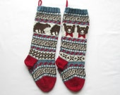 Knitting Pattern Bears Christmas Stockings Stranded Knitting Fair Isle Holiday Santa Sock Bears with bow ties Knit Your Own