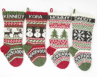 Knitted Christmas Stockings set of 4 fair isle knit Holiday Stockings Scandinavian knit customized personalized to order