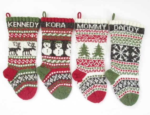 knitted christmas stockings knitted set of 4 fair isle knit 29133