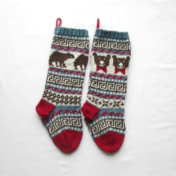 Knitting Pattern Bears Christmas Stockings Stranded Knitting Fair ...