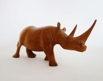 Vintage Wooden Rhino Sculpture Mid Century