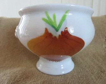 French Onion Soup Bowl    Made in France   Hand Painted by Le Chambrelain