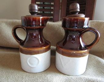 Crockery Oil and Vinegar Cruets   Bean Pot Design   Vintage Kitchen