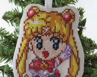 Sailor Moon Cross Stitched Embroidered Ornament