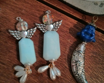 Funky peruvian opal angel earrings handmade dangles OOAK exclusive la fleur de lis dragon winged blessed halo guide head turners