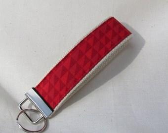 Keyfob wristlet / key chain / shades of red triangles /fabric key fob