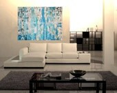 Turquoise Abstract Original Painting 36 x 48 Canvas Blue White Black Impasto Texture Modern Large Art Contemporary Coastal Ocean Seascape