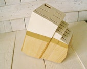 Hand painted knife block blonde wood ivory metallic gold