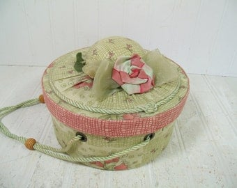 Retro Round Dusty Rose Pink & Sage Green Lidded Sewing Basket with Hat Pin Cushion - Vintage Shabby Chic Round Fabric Box / Elastic Pockets