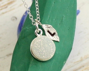 Rainbow Druzy Bezel Stone Necklace with Initial Leaf In Sterling Silver