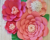 RTS Large Paper Rose Paper Flower Photo Prop Backdrop Set of 4 Pink Flowers Wedding Nursery Decor Ready to Ship Baby Shower