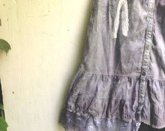 fairy girl hand dyed dark gray blue rustic vintage lace roses junior bridesmaid party eco prairie girl wedding party couture dress